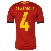 2013 Spain #4 Guardiola Red Home Replica Soccer Jersey Shirt
