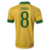 13/14 Brazil #8 DUNGA Yellow Home Jersey Shirt Replica