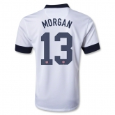 2013 USA #13 MORGAN Home White Soccer Jersey Shirt