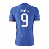 13-14 Italy #9 Viali Home Blue Soccer Jersey Shirt