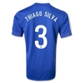 2013 Brazil #3 THIAGO SILVA Blue Away Jersey Shirt Replica