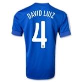 2013 Brazil #4 DAVID LUIZ Blue Away Jersey Shirt Replica