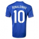 2013 Brazil #10 RONALDINHO Blue Away Jersey Shirt Replica