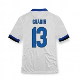 13-14 Inter Milan #13 Guarin Away White Soccer Jersey Shirt