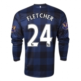 13-14 Manchester United #24 FLETCHER Away Black Long Sleeve Jersey Shirt
