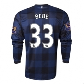 13-14 Manchester United #33 BEBE Away Black Long Sleeve Jersey Shirt