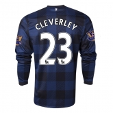 13-14 Manchester United #23 CLEVERLEY Away Black Long Sleeve Jersey Shirt