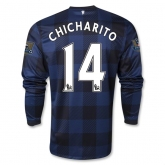 13-14 Manchester United #14 CHICHARITO Away Black Long Sleeve Jersey Shirt