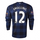 13-14 Manchester United #12 SMALLING Away Black Long Sleeve Jersey Shirt
