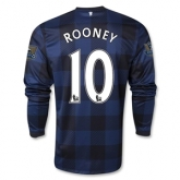 13-14 Manchester United #10 ROONEY Away Black Long Sleeve Jersey Shirt