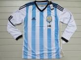 2014 Argentina Home Soccer Long Sleeve Jersey Shirt