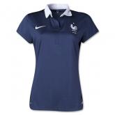2014 France Home Navy women's Jersey Shirt