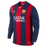 14-15 Barcelona Home Long Sleeve Soccer Jersey Shirt