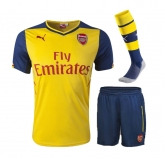 14-15 Arsenal Away Yellow Whole Kit(Shirt+Short+Socks)