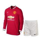 14-15 Manchester United Home Long Sleeve Jersey Kit(Shirt+Short)