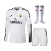 14-15 Real Madrid Home Long Sleeve Jersey Whole Kit(Shirt+Short+Socks)