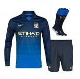 14-15 Manchester City Away Blue Long Sleeve Jersey Whole Kit(Shirt+Short+Socks)