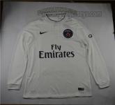 14-15 PSG Away White Long Sleeve Soccer Jersey Shirt