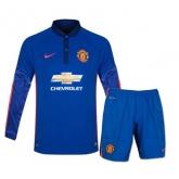 14-15 Manchester United Away Blue Long Sleeve Jersey Kit(Shirt+Short)
