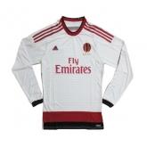 14-15 AC Milan Away White Long Sleeve Soccer Jersey Shirt