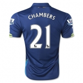 14-15 Arsenal CHAMBERS #21 Away Blue Soccer Jersey Shirt