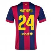 14-15 Barcelona Mathieu #24 Home Soccer Jersey Shirt