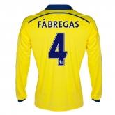 14-15 Chelsea FÀBREGAS #4 Away Yellow Long Sleeve Jersey Shirt