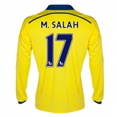 14-15 Chelsea M.Salah #17 Away Yellow Long Sleeve Jersey Shirt