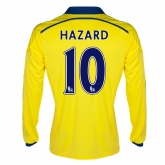 14-15 Chelsea Hazard #10 Away Yellow Long Sleeve Jersey Shirt