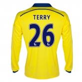 14-15 Chelsea Terry #26 Away Yellow Long Sleeve Jersey Shirt