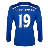 14-15 Chelsea Diego Costa #19 Home Long Sleeve Jersey Shirt
