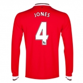 14-15 Manchester United Jones #4 Home Long Sleeve Jersey Shirt