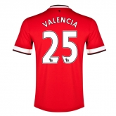 14-15 Manchester United Valencia #25 Home Jersey Shirt