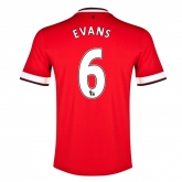 14-15 Manchester United Evans #6 Home Jersey Shirt