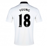 14-15 Manchester United Young #18 Away White Jersey Shirt