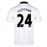 14-15 Manchester United Fletcher #24 Away White Jersey Shirt