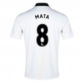14-15 Manchester United Mata #8 Away White Jersey Shirt