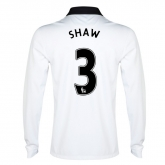 14-15 Manchester United Shaw #3 Away White Long Sleeve Jersey Shirt