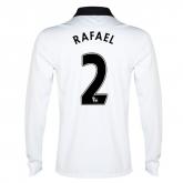 14-15 Manchester United Rafael #2 Away White Long Sleeve Jersey Shirt