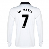 14-15 Manchester United Di Maria #7 Away White Long Sleeve Jersey Shirt