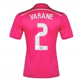 14-15 Real Madrid Varane #2 Away Pink Jersey Shirt