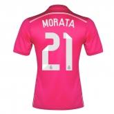 14-15 Real Madrid Morata #21 Away Pink Jersey Shirt