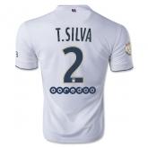 14-15 PSG T.SILVA #2 Away White Soccer Jersey Shirt