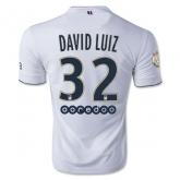 14-15 PSG DAVID.LUIZ #32 Away White Soccer Jersey Shirt