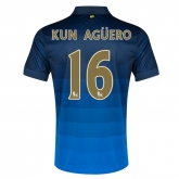 14-15 Manchester City Kun Agüero #16 Away Blue Soccer Jersey Shirt