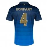 14-15 Manchester City Kompany #4 Away Blue Soccer Jersey Shirt