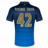 14-15 Manchester City Toure Yaya #42 Away Blue Soccer Jersey Shirt