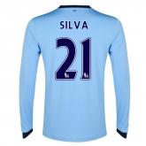 14-15 Manchester City Silva #21 Home Long Sleeve Jersey Shirt
