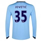 14-15 Manchester City Jovetić #35 Home Long Sleeve Jersey Shirt