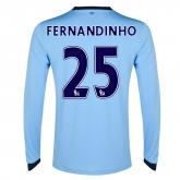 14-15 Manchester City Fernandinho #25 Home Long Sleeve Jersey Shirt